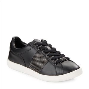 Karl Lagerfeld Black Emma Leather Lace-up Sneakers
